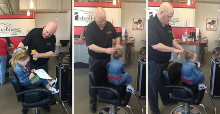 Dad Goes To Beauty School So He Can Braid Daughters Hair dad does daughter ponytail cosmetology school greg wickherst 1 e1423180535187