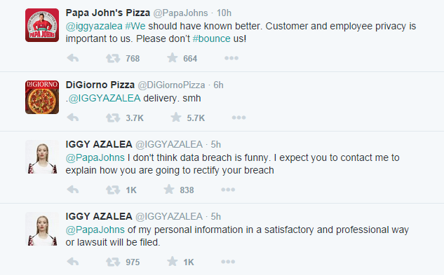 Papa Johns Pizza Give Out Iggy Azaleas Phone Number iggy azalea tweets