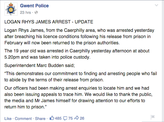 Teen On Run Taunts Police On Facebook, Gets Caught Instantly kgbgl7vzjns6z3k3qwdy