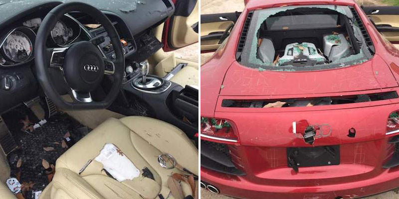 Woman Completely Trashes Cheating Husbands £100K Audi R8 omgaudi1