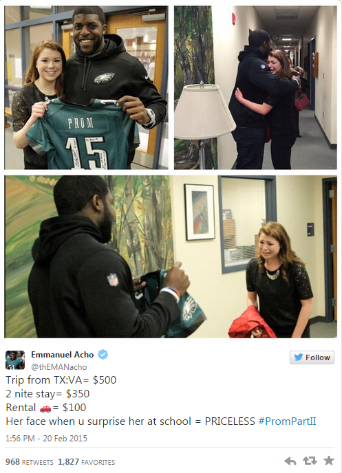 NFL Linebacker Takes Girl To Prom After She Got 10K Retweets uAR469I 1