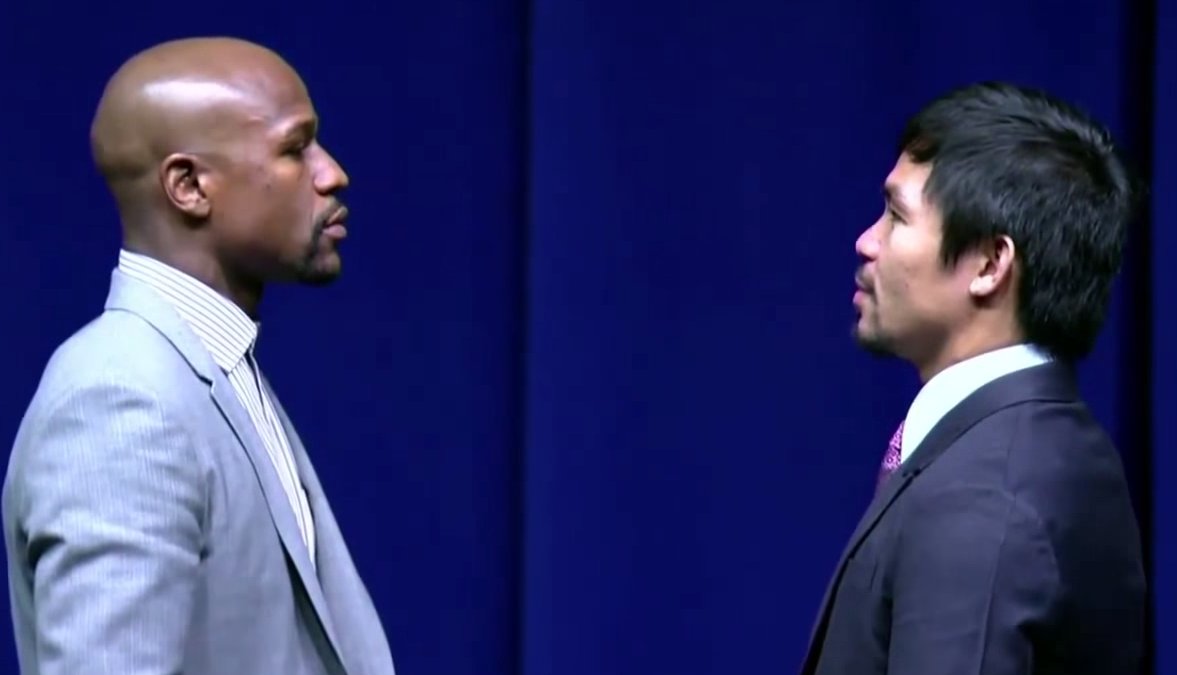 Floyd Mayweather And Manny Pacquiao Have EPIC Stare Down Screen Shot 2015 03 12 at 12.47.01