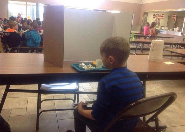 Boy Forced To Eat Behind Screen For Being Late Gets Last Laugh boy2