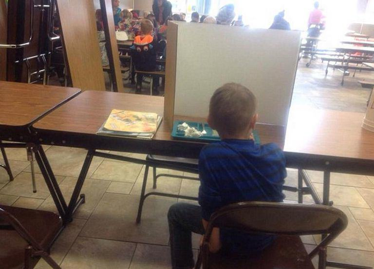 Boy Forced To Eat Behind Screen For Being Late Gets Last Laugh boy3