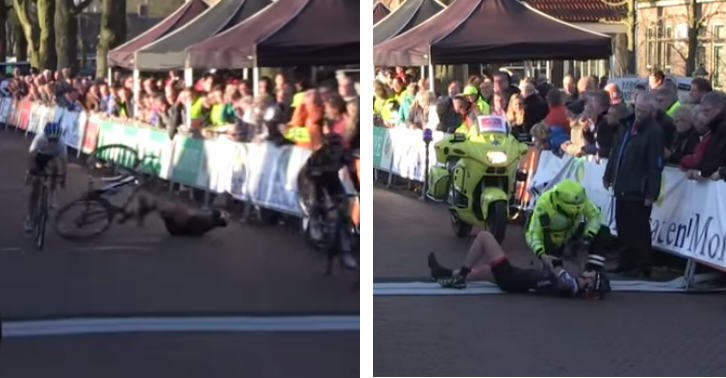 Guy In The Crowd Causes A Crash At The Finish Line Of This Bike Race crash tn