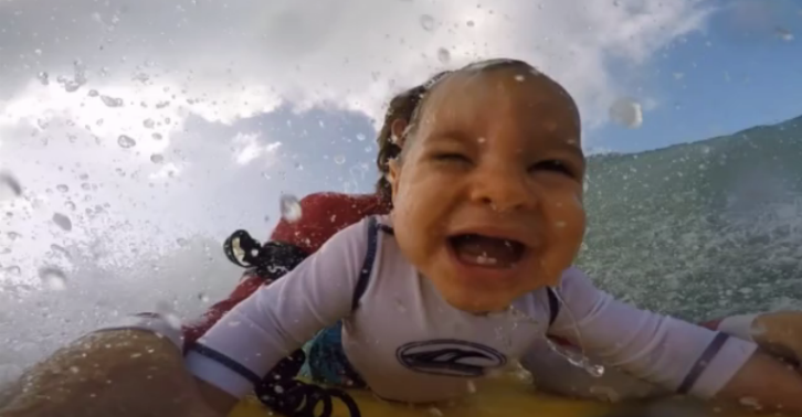 GoPro Footage Shows A 9 Month Old Baby Loving Life On The Ocean Waves esdrfghnjkm