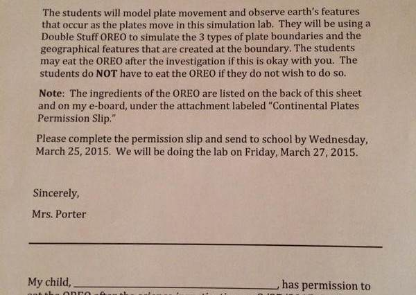 Kids Sent Home With Permission Slip Asking If They Can Eat An Oreo oreo 600x426