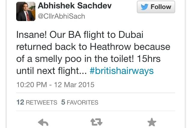 Lethal Poo Becomes So Smelly That Flight To Dubai Has To Be Cancelled poo tweet 640x426