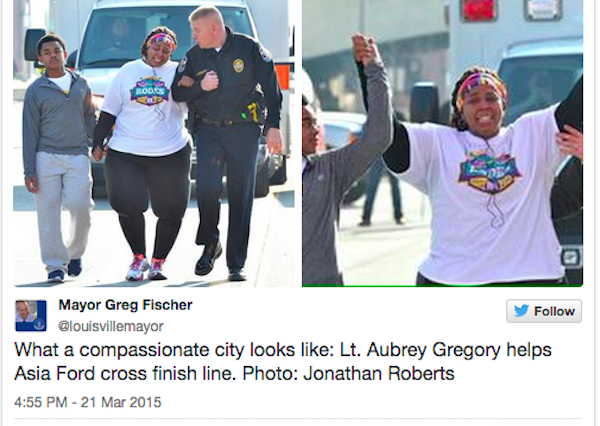 Policeman Helps Woman Finish Final Lap Of 10k Race To Celebrate Weight Loss race 600x426