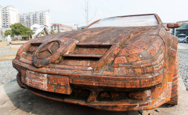 Man Builds Insane Mercedes Replica Using Only Red Bricks redbrick