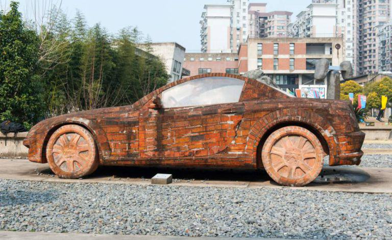 Man Builds Insane Mercedes Replica Using Only Red Bricks redbricks