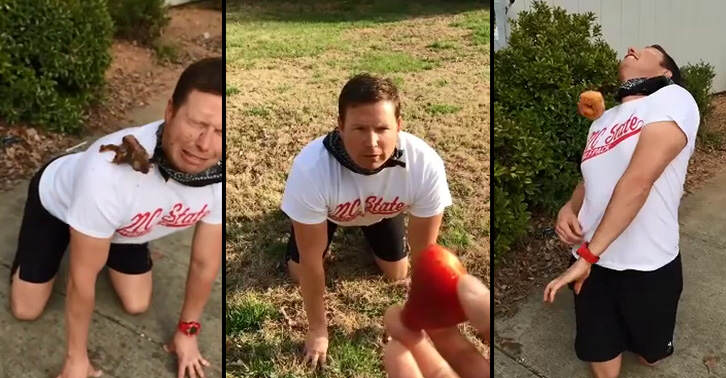 This Guy Recreates The Dog Fail Video By Trying To Catch Food In His Mouth   The Slow Mo Video Is Hilarious thumbby