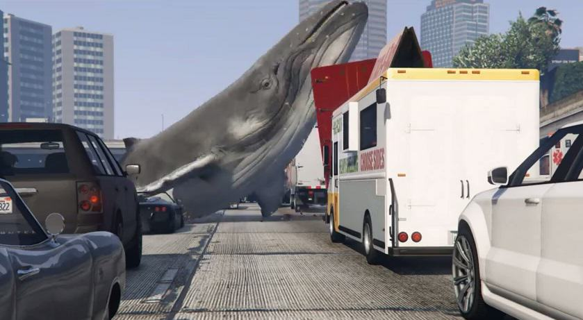 Whales Falling From The Sky On GTA V And Causing Mayhem Is Brilliant 1109