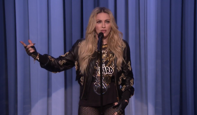 Madonna Attempts Stand Up Comedy, Its Painful To Watch Screen Shot 2015 04 10 at 10.05.30 AM 640x374