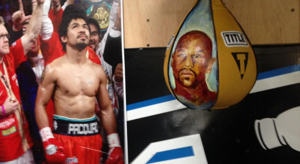 Manny Pacquiao's New Speedbag Has Floyd Mayweathers Face On It Screen Shot 2015 04 16 at 15.29.31