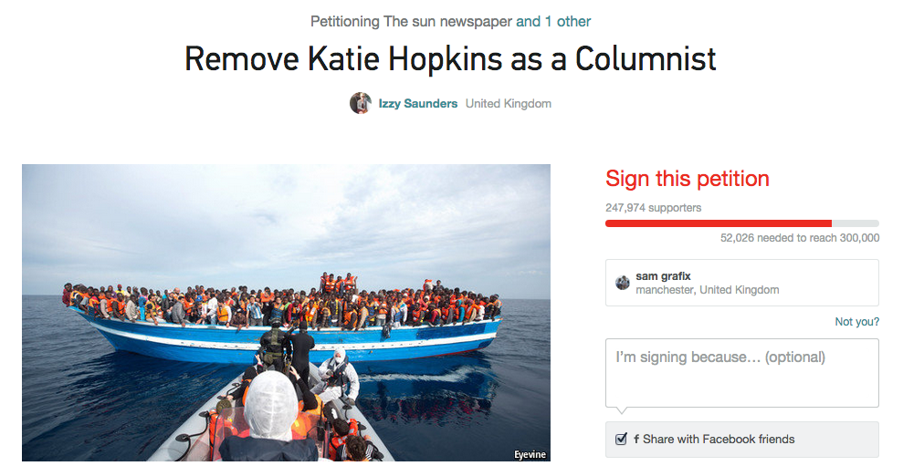 Katie Hopkins Migrant Comments More Important Than Real Issue, Apparently Screen Shot 2015 04 21 at 15.44.58