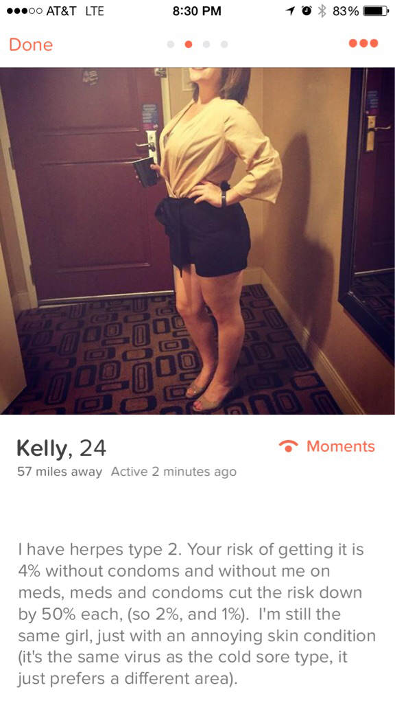Girl With Herpes On Tinder Is VERY Honest About Her Condition herpes 1