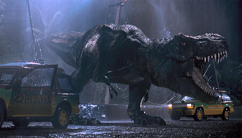 The Original Jurassic Park T Rex Is Back For Jurassic World jurassic park t rex jeep attack