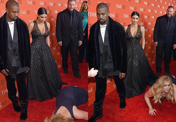 Kanye West And Kim Kardashian Werent Impressed With Amy Schumer Falling At Their Feet kanyeWEBTHUMBNEW2
