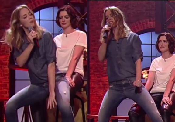 Emily Blunt Gives Anne Hathaway A Cheeky Lapdance On US TV Programme lapdanceWEBTHUMBNEW