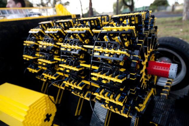 This Guy Built A Full Size Lego Car That Runs 100% On Air lego engine up close 640x426