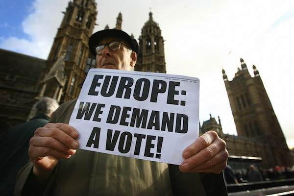 What People Can Expect From A Conservative Government In The Next Five Years EU protest