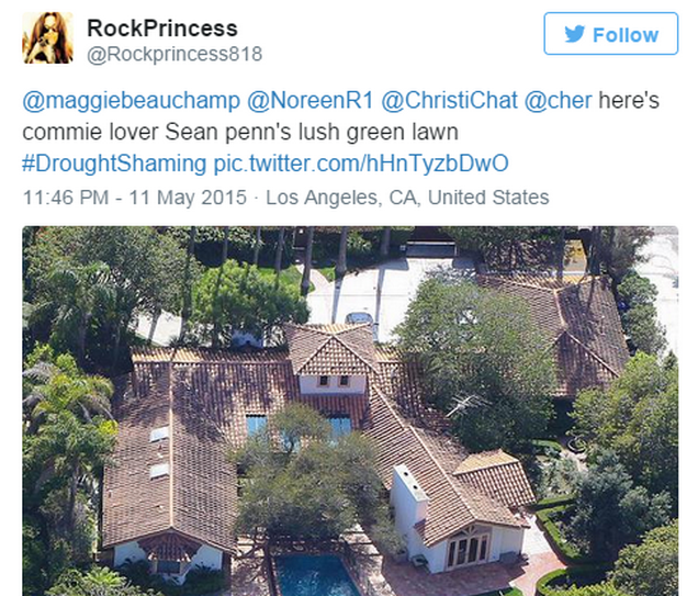 California Residents Resort To #DroughtShaming Celebrities Who Are Wasting Water Screen Shot 2015 05 20 at 13.29.34