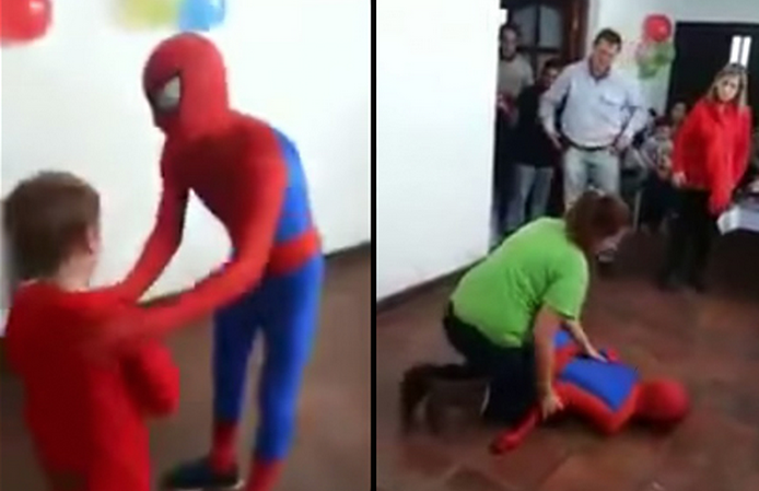 The Awkward Moment When Spider Man Gives Himself Concussion At Kids Birthday Party Screen Shot 2015 05 25 at 12.03.41