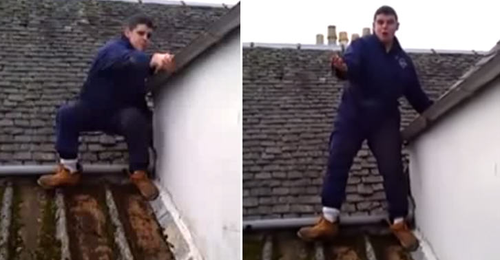 Scottish Lad Having A Breakdown While Working On A Roof Is Hilarious TN153