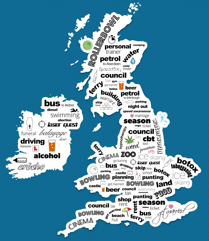 From Punting To Prostitutes, The UK's Real Cost Concerns Are Revealed costobs map