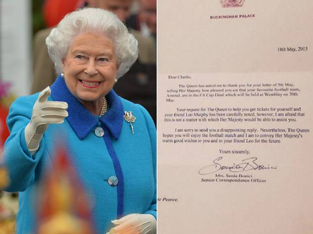 Arsenal Fan Asks The Queen For FA Cup Final Tickets, Gets Reply fa cup