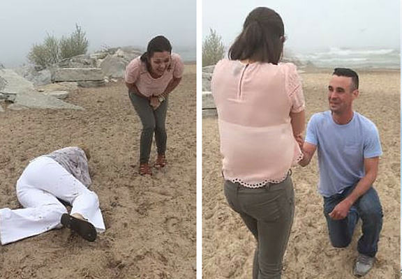 Mum With ZERO Balance Ruins Moment By Faceplanting During Daughters Proposal faceplant proposal WEB