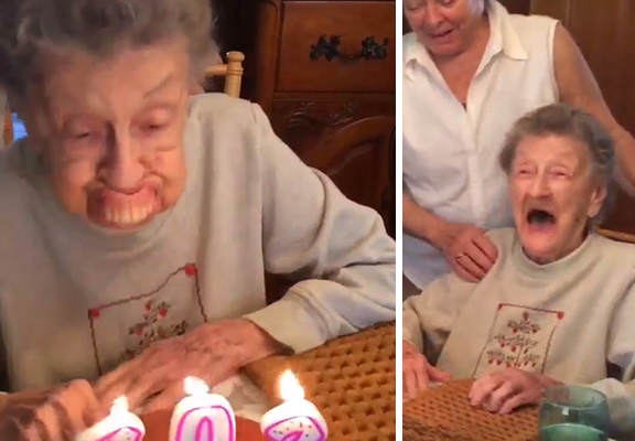 102 Year Old Granny Hilariously Spits Out Teeth When Blowing Her Birthday Candles Out gran12