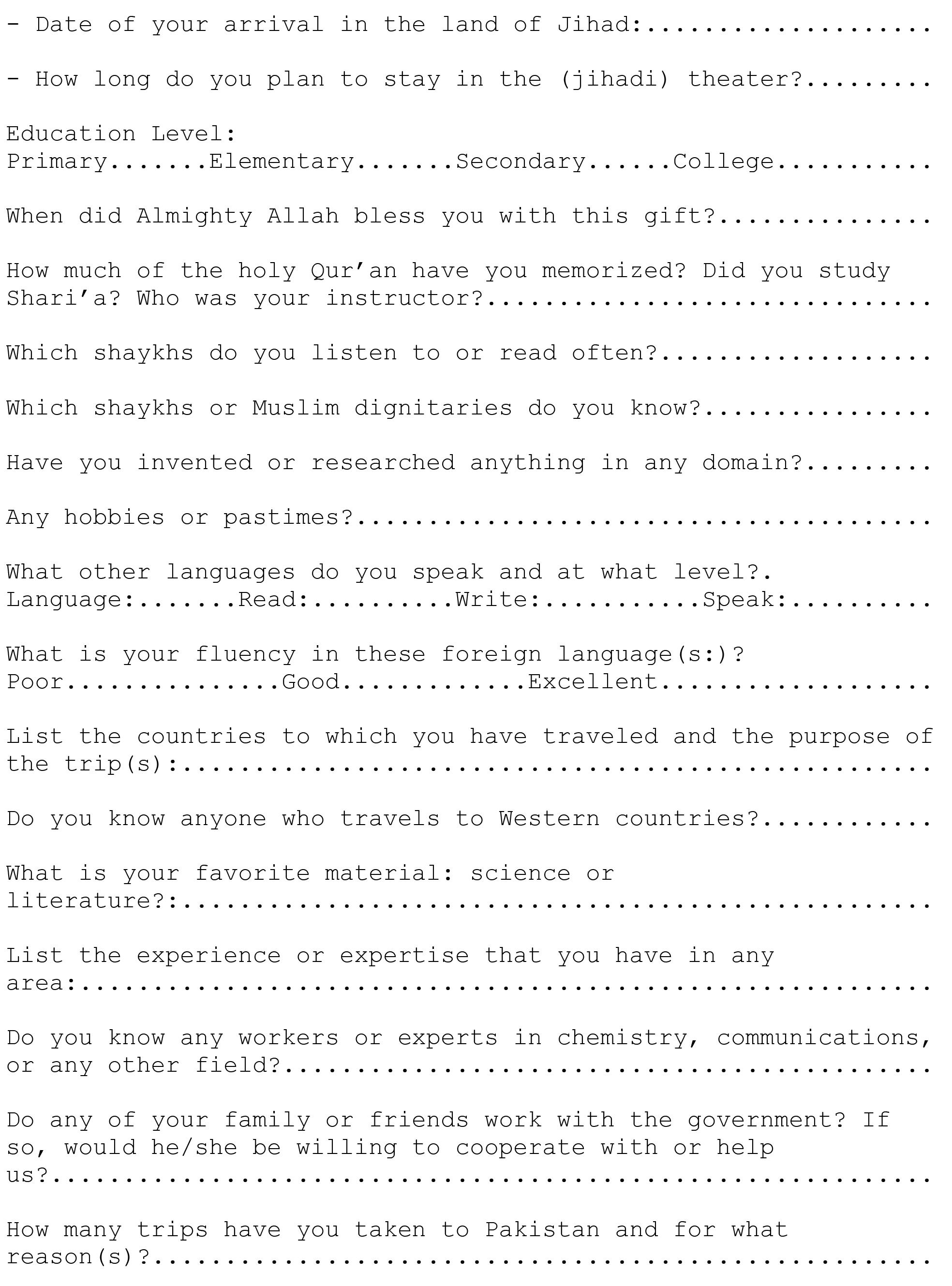 Ever Wondered What An Al Qaeda Job Application Form Looks Like? instructions to applicants 2