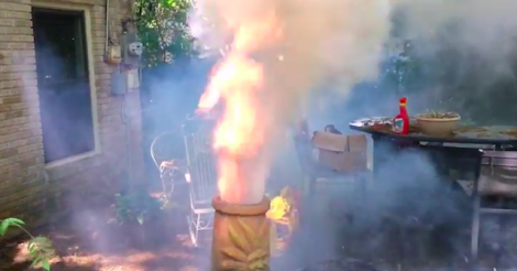 If You Cross A Leaf Blower With A Fire Pit You Get One Hell Of A Result leaf