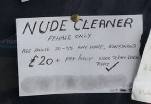 Man Wants Nude Cleaner, Advertises For One And Will Pay £20 Per Hour nude web