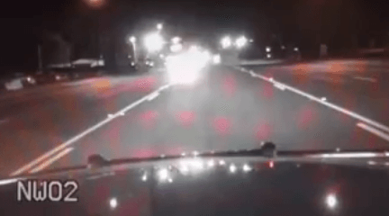 Dude Is So Drunk, He Crashes Right Into Police Car Straight In Front Of Him police