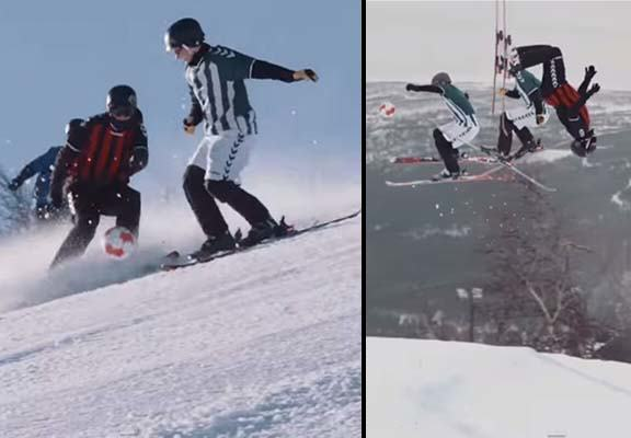 Lads Play Football While Skiing Down A Mountain In Epic Game ski soccer WEB