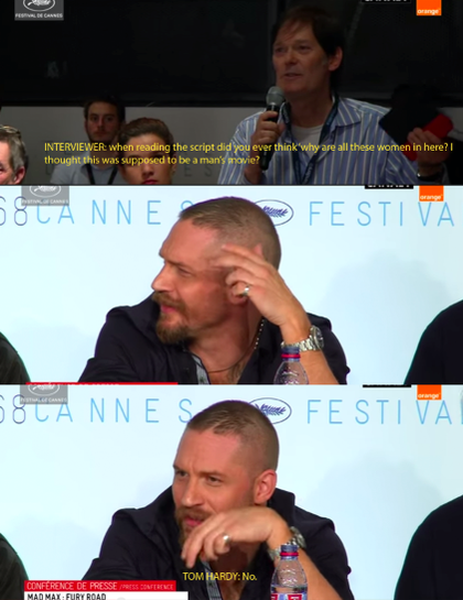 Tom Hardy Responds To Sexist Question About Mad Max tom hardy