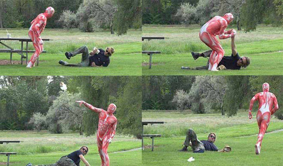 Man Eating A Burger Attacked By Meat Suit Wearing Vegetarian vegie