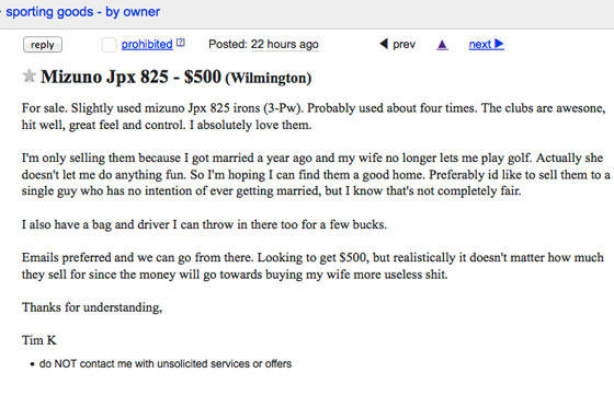 This Lad Posts A Craigslist Ad Selling His Golf Clubs, Blaming His Killjoy Wife 25
