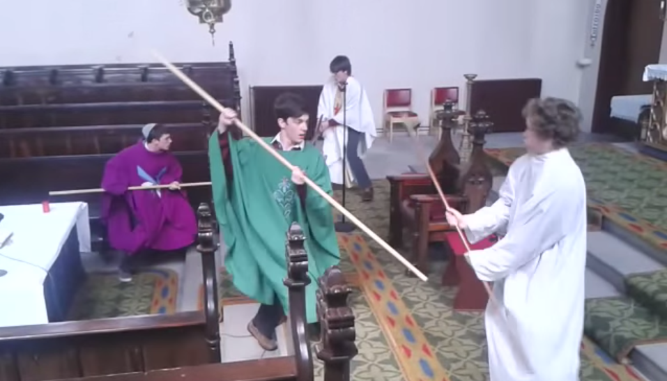 Irish Lads Sneak Into Church, Robe Up Then Have Lightsaber Battle Screen Shot 2015 06 25 at 09.42.50