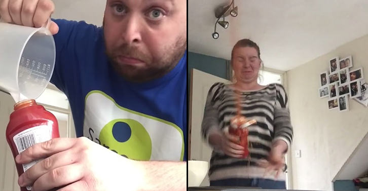 Watch This Lad Get His Girlfriend With Exploding Ketchup Prank TN134