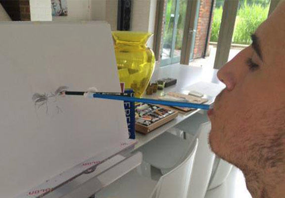 Talented Lad Draws Andy Murray Portrait Using ONLY His Mouth andy murray painting WEB