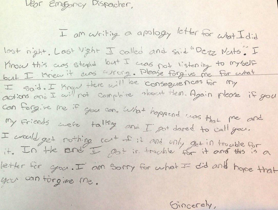 Parents Take Son To Police Station After Prank Call, Make Him Write Amazing Apology apology letter
