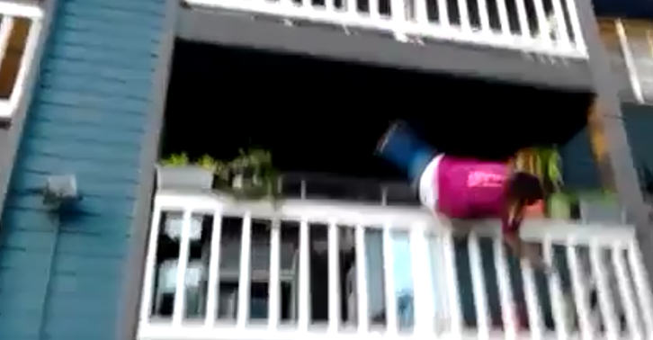 Girl Tries To Climb Down Balcony, Obviously Does Not End Well balcony 1