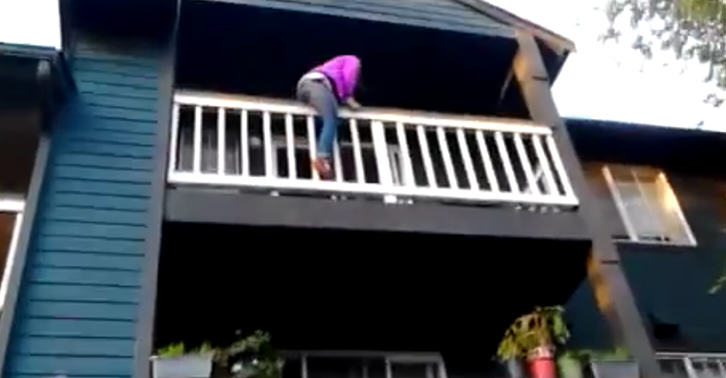 Girl Tries To Climb Down Balcony, Obviously Does Not End Well balcony 2