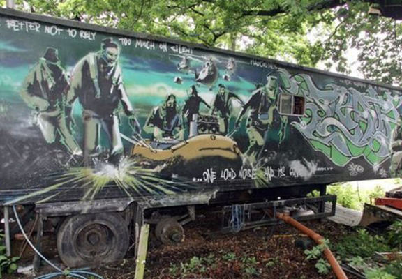 This Banksy Painted Trailer May Bring $400,000 In Auction banksy trailer WEB