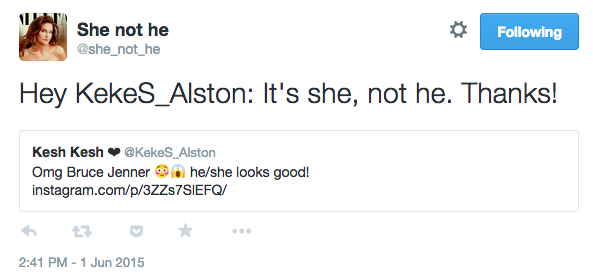 If You Misgender Caitlyn Jenner, This Twitter Bot Will Correct You caitlyn tweet 2