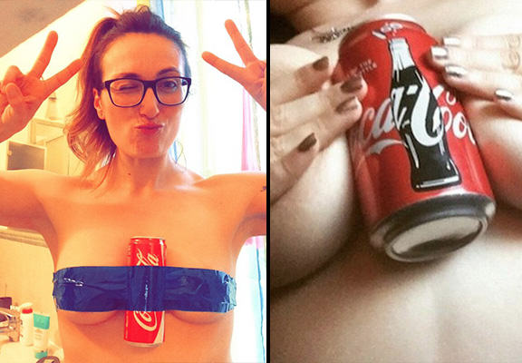 Women Are Taking Selfies With Cans Of Coke Between Their Breasts For A Good Cause coke boobs WEB